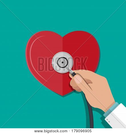 Medical stethoscope or phonendoscope in hand of doctor. Human heart. Medical equipment. Healthcare. Vector illustration in flat style