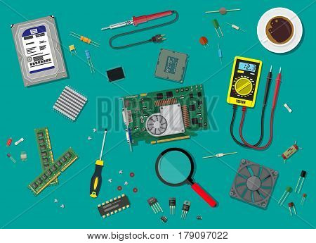 Hard drive, cpu, fan, graphic card, memory, screwdriver. Set of personal computer hardware. Digital multimeter and soldering tool. Fixing pc components. Service. Vector illustration in flat style