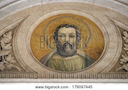 ROME, ITALY - SEPTEMBER 05: Saint Judas Thaddaeus mosaic in the basilica of Saint Paul Outside the Walls, Rome, Italy on September 05, 2016.