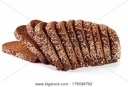 slices of black bread with sesame seeds isolated on white background.