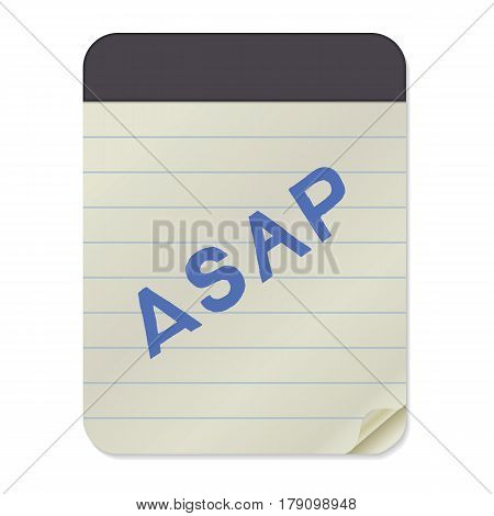 ASAP - hand drawn lettering abbreviation on Notebook Template. Vector illustration quote. Handwritten inscription phrase for office, presentation, t-shirt print, poster design.