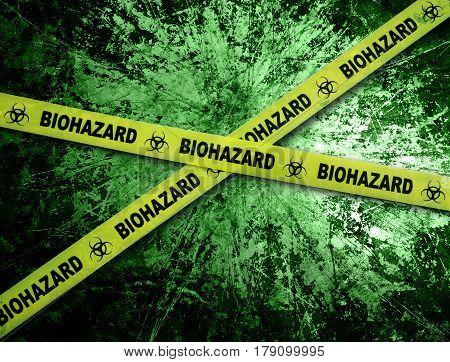 Yellow biohazard tape across and grunge green background