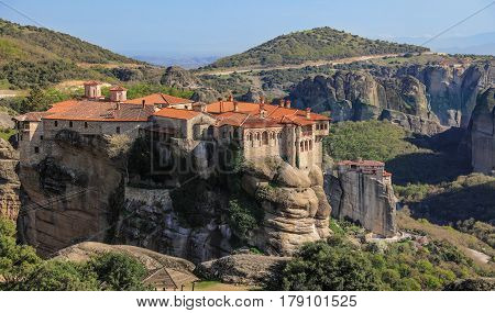 Monastery Of Varlaam From Meteora Monasteries In The North Part Of Greece.