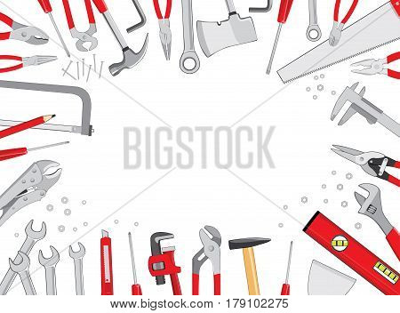Working table frame composition top view background. Do it yourself project. Vector illustration