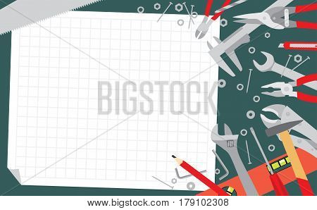 Working tools on green table background. Working plan banner. Do it yourself project. Vector illustration