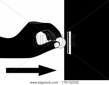 Hand put coin in vending machine slot. Insert coin or chip. Flat vector illustration