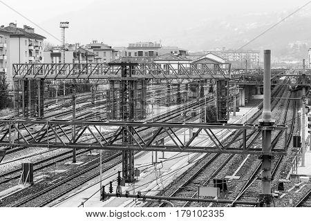 Tracks In Trento In Monochrome