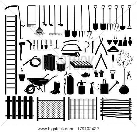 Various agricultural icon tools set for garden. Vector Illustration