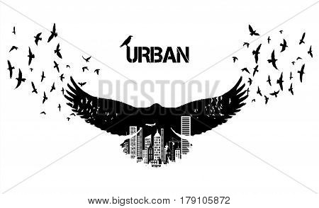 Isolated Flying raven silhouettes with double exposure effect. Urban city as background