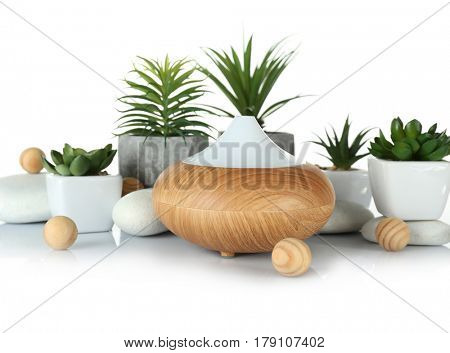 Aroma oil diffuser and plants on table
