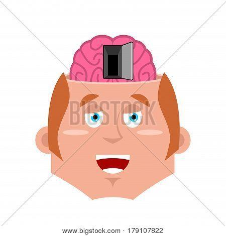 Man And Open Door To Brain. Psychology Illustration. Nlp Concept