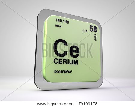 Cerium - Ce - chemical element periodic table 3d render
