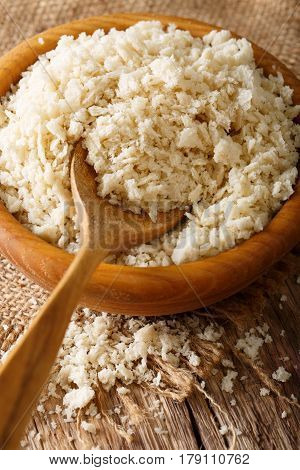 Crispy Breadcrumbs Panko For Breading In A Bowl Macro. Vertical