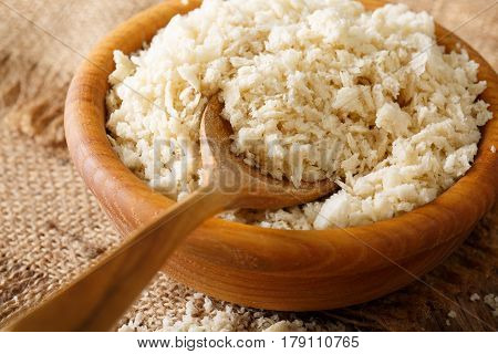 Crispy Breadcrumbs Panko For Breading In A Bowl Macro. Horizontal