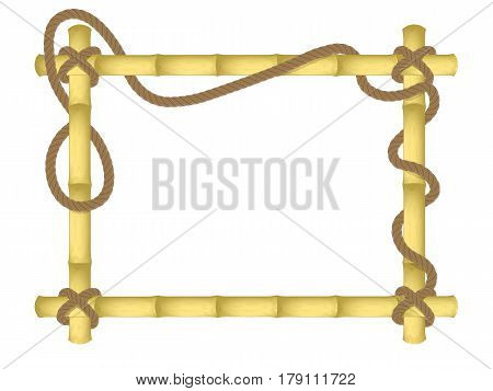 vector bamboo frame. flutter connected with a rope. design mockup . isolated on white background.