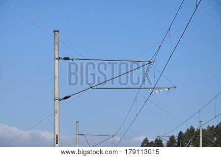 Traction power line rail corridor. Railroad tracks.