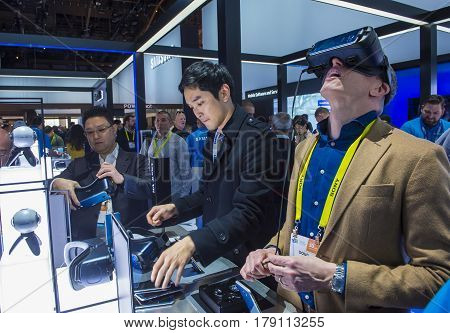 LAS VEGAS - JAN 08 : Virtual reality demonstration at The Samsung booth at the CES show in Las Vegas on January 08 2017 CES is the world's leading consumer-electronics show.