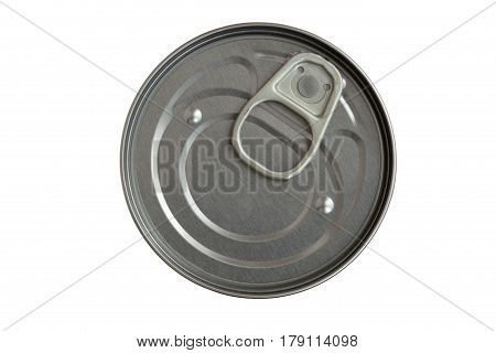 Lid of a tin can on the white background