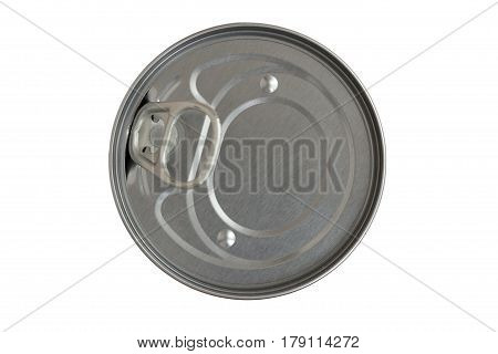 lid of a tin can on the white