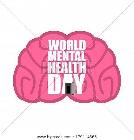 World Mental Health Day Emblem. Symbol Of Human Brain. Grunge Style. Brush And Splashes.