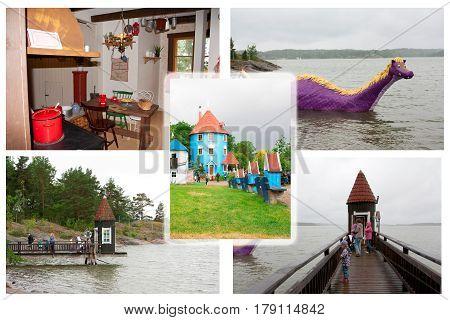 Colloge of photos in Moominworld Naantali Finland 07.07.2015