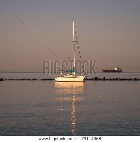 Sailing ship, dawn,sunrise, aurora, Mediterranean Sea, Cyprus