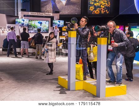 LAS VEGAS - JAN 08 : The Nikon booth at the CES show in Las Vegas on January 08 2017 CES is the world's leading consumer-electronics show.