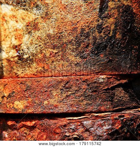 Old rusty iron. The texture is very rusty and dirty metal. For photomontage and collage.