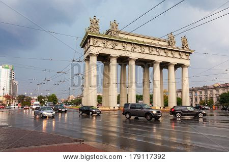 St. Petersburg Russia - August 8 2016: View of the Moscow Triumphal Gate in St. Petersburg Russia
