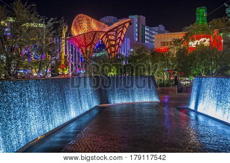 LAS VEGAS - NOV 08 : The Park in Las Vegas on November 08 2016. The Park is outdoor dining and entertainment district area that connects the T-Mobile Arena to the Las Vegas Strip