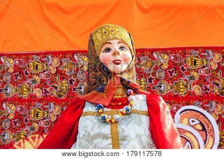 SAMARA RUSSIA - FEBRUARY 26 2017: Shrovetide in Russia. Big doll for the burning as simbol of winter during the Maslenitsa or Pancake Week