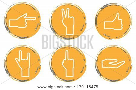Set vector round yellow careless grunge icons gestures with hands symbols for your design.