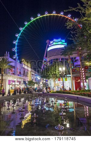 LAS VEGAS - OCT 05 : The Linq a dining and shopping district and High Roller at the center of the Las Vegas Strip on October 05 2016 The High Roller is the world's largest observation wheel