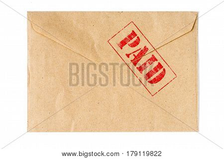 Paid on old Envelope high quality and high resolution studio shoot