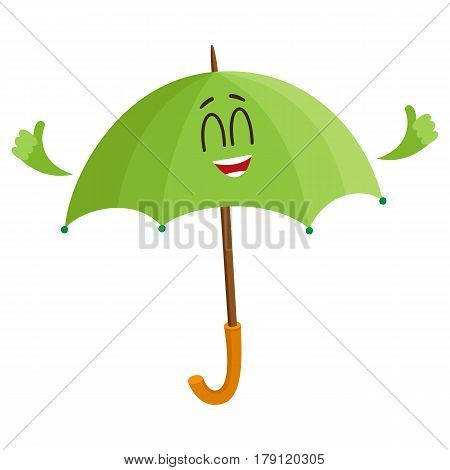 Cute and funny open green umbrella character with smiling human face giving thumb up, cartoon vector illustration isolated on white background. Open umbrella, parasol character, mascot, design element