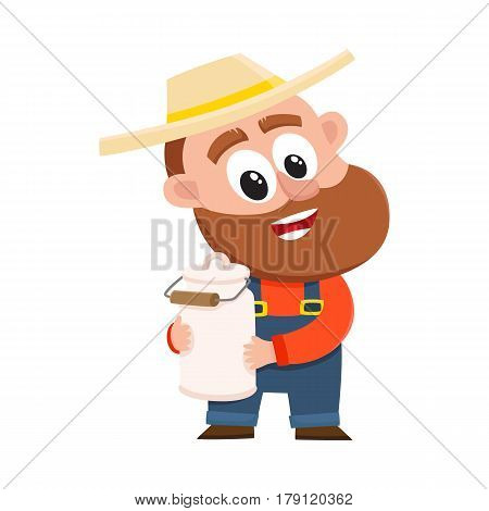 Funny farmer, gardener character in straw hat and overalls holding retro style milk can, canister, cartoon vector illustration isolated on white background. Comic farmer character, design elements
