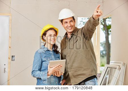 Apprentice during apprenticeship as craftsman in construction site