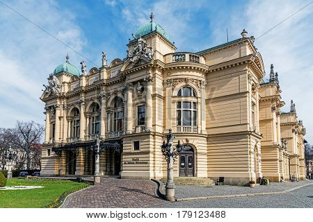 KRAKOW, POLAND - MARCH 25, 2017: Juliusz Slowacki Theatre in Krakow, founded in 1893 in a beautiful Neo-Baroque edifice. The well-known theatre is considered one of the most distinguished Polish scenes.
