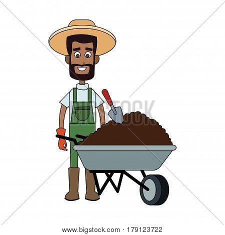 male farmer carrying dirt cartoon icon image vector illustration design