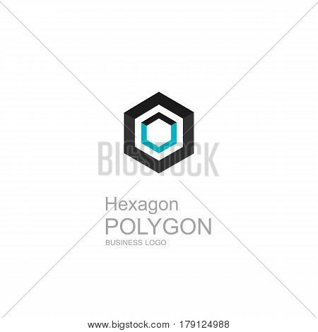 Business Icon Hexagon, Flat Polygonal Hexagon, Geometric Design Concept