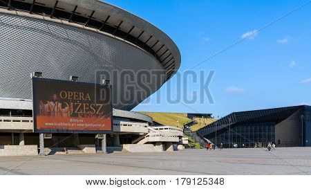 KATOWICE, POLAND - MARCH 26, 2017: Sports hall Spodek built in the shape of a flying saucer in the early seventies of the 20th century. Arena hosted FIVB Volleyball Men's World Championship in 2014.