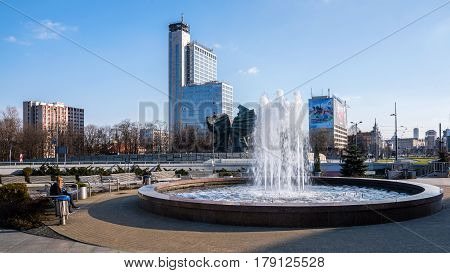 KATOWICE, POLAND - MARCH 26, 2017: Cityscape of Katowice, city in southwestern Poland center of the Silesian Metropolis. The metropolitan area is the 16th most economically powerful city in the EU.