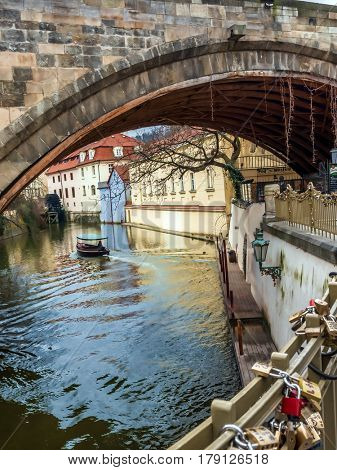 PRAGUE, CZECH REPUBLIC - MARCH 8 2017: Kampa Island also known as Venice of Prague next to Charles Bridge, Czech Republic