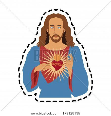 jesus christ with sacred heart icon image vector illustration design