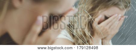 Girl Covering Face By Hands