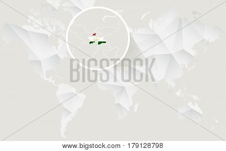 Tajikistan Map With Flag In Contour On White Polygonal World Map.
