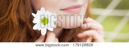 Natural Beautiful Woman With A Fresh Flower