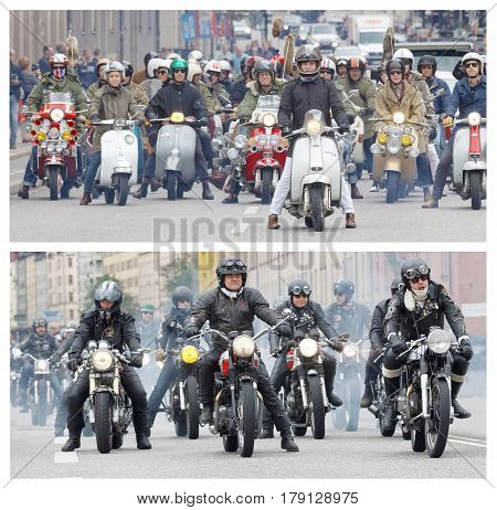 STOCKHOLM SWEDEN - SEPT 03 2016: Who are the coolest gang in town? Large group of Mods and Rockers on old fashioned vespas and motorcycles at the Mods vs Rockers event at the Saint Eriks bridge Stockholm Sweden September 03 2016