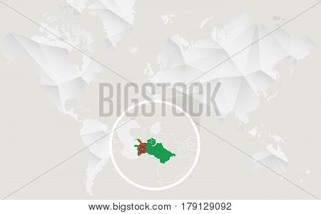 Turkmenistan Map With Flag In Contour On White Polygonal World Map.