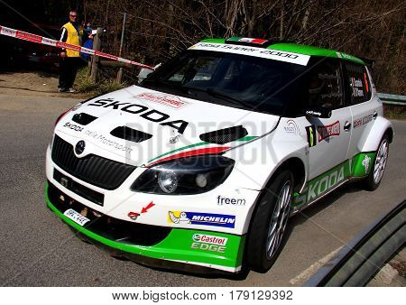 San Romolo Italy - 11 April 2015 to 62 ° Sanremo Rally Of: The Skoda Fabia WRC crew shingle-D'Amore, shooting in the race dutante test speed 'called Bignone.